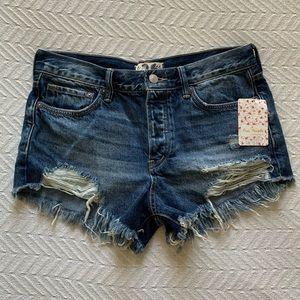 Free People Distressed Denim Jean Shorts